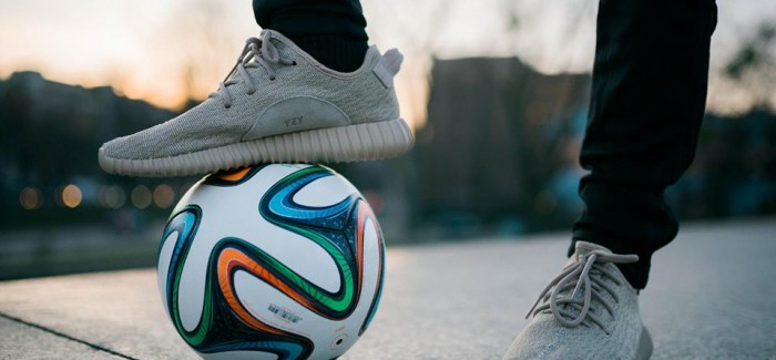 Football Freestyle in Yeezy Boost 350 Oxford Tan